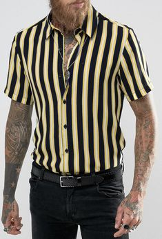 Reclaimed Vintage Inspired Stripe Shirt In Reg Fit from ASOS (men, style, fashion, clothing, shopping, recommendations, stylish, menswear, male, streetstyle, inspo, outfit, fall, winter, spring, summer, ad, personal)
