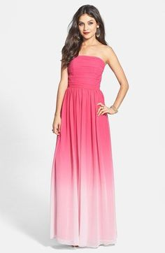 Free shipping and returns on ERIN erin fetherston 'Isabelle' Ombré Chiffon Gown at Nordstrom.com. Lush color saturating the ruched strapless bodice of a flowing chiffon gown fades down the finely shirred skirt into dusty opaque at the sweeping hemline.