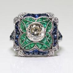 Antique Art Deco 925 Sterling Silver Cushion Cut Emerald & White Sapphire Diamond Floral Wedding Engagement Ring