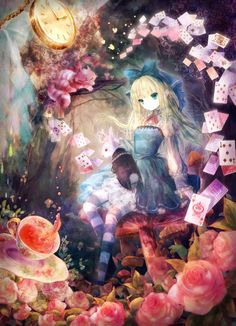 ✮ ANIME ART ✮ Alice in Wonderland. . .Alice. . .White Rabbit. . .Cheshire Cat. . .petticoat. . .dress. . .lace. . .striped socks. . .head bow. . .mushrooms. . .tea. . .roses. . .playing cards. . .pocket watch. . .fairy tale. . .kawaii