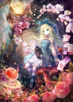 ✮ ANIME ART ✮ Alice in Wonderland. . .Alice. . .White Rabbit. . .Cheshire Cat. . .petticoat. . .dress. . .lace. . .striped socks. . .head bow. . .mushrooms. . .tea. . .roses. . .playing cards. . .pocket watch. . .fairy tale. . .kawaii
