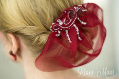 soutache hair comb, ruby red