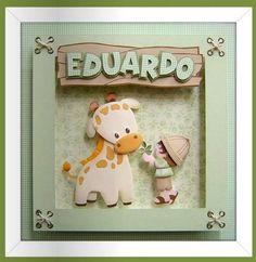 Quadro quarto do bebê ou menino | KAROCHAARTES EM SCRAP E EVA | 21E855 - Elo7 Baby Nursery Decor, Baby Decor, Nursery Art, Crafts For Boys, Xmas Crafts, Diy And Crafts, Kids Cards, Baby Cards, Scrapbook Bebe