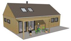 Version moderne du plan Holden. L'absence de débords de toiture, la pose verticale du bardage et sa couleur, l'angle de la toiture donnent un style moderne scandinave.