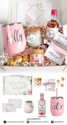 Wedding Gifts Wedding planning can be stressful. You can help your bridal party be prepared with our Will You be My Bridesmaid Proposal Box - Spa Edition. A little wine tumbler, an amazing candle, and a relaxing body scrub or face mask is all included. Will You Be My Bridesmaid Gifts, Bridesmaid Gift Boxes, Bridesmaid Proposal Gifts, Wedding Gifts For Bridesmaids, Bridesmaids And Groomsmen, Gifts For Wedding Party, Party Gifts, Bridesmaid Ideas, Diy Gifts