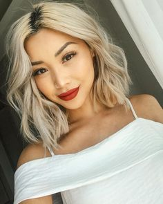 35 New Ideas For Hair Dyed Ombre Brown Curls - Blonde Hair Blonde Asian Hair, Hair Color Asian, Platinum Blonde Hair, Asians With Blonde Hair, Asian Hair Dyed, Bleached Blonde Hair, Dark Roots Blonde Hair Short, Asian Hair Bob, Hair Colors