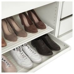 IKEA KOMPLEMENT pull-out shoe shelf Solid bottom prevents any dirt from falling outside the shelf. Shoe Shelf Ikea, Shoe Shelves, Shelving, Pax System, Maximize Closet Space, Ikea Komplement, Armoire Pax, Shoe Rack Closet, Trouser Hangers