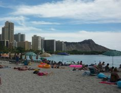 View of Waikiki from the beach with Diamond Head in the background. I climbed it on my last full day there. Pictures to follow.