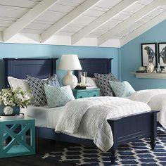 Wakefield Colors Twin Panel Bed by Bassett Furniture. I like the colors. Maybe I could paint the old headboards we have dark blue.