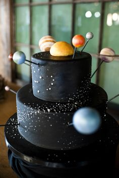 Solar system cake - would be fun to make for the kids after a science test or something.  Bet you could use donut holes and muffin tops for the planets