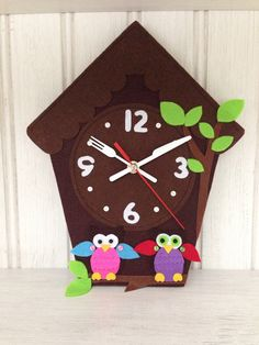 A personal favourite from my Etsy shop https://www.etsy.com/listing/256530082/children-wall-clock-wall-clock-owl-clock