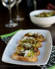 Brussels Sprouts, Pancetta and Caramelized Red Onion Crostini @Liren Baker | Kitchen Confidante