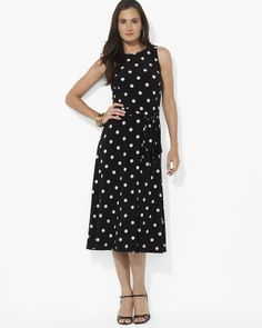 Lauren Ralph Lauren Dress - Sleeveless Jersey Midi Swing | Bloomingdale's