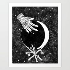 The waxing crescent moon represents the beginning of growth, setting out on a new journey, and following your intuition. Part of the Lunar Phases series.<br/> <br/> <br/> moon, lunar phases, witch, witchcraft, magic, crystal ball, space, tattoos