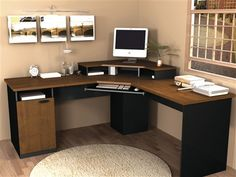 Hampton Collection Corner Workstation in Tuscany Brown & Black – OfficeDesk.com