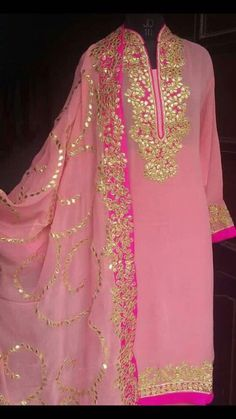 Georgette suit with Gota Patti work by Threadsandblocks on Etsy