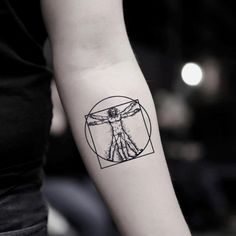 """$9.99  ·  Small leonardo da vinci classical physics art history illustrative tattoo design Tattoo Dimensions: 2.00"""" W x 2.00"""" H Quantity: 2 pcs Safe and non-toxic, waterproof and FDA passed High quality non-reflective temporary tattoo sticker Lasts 2-5 Days depending on different placements Removes easily with baby oil or makeup remover Fake Tattoos, Small Tattoos, Tattoos For Guys, White Tattoos, Arrow Tattoos, One Word Tattoos, Ankle Tattoo Small, Small Tattoo Designs, Diy Tattoo"""