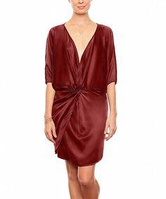 Kolla på denna!      Love this Burgundy Michelle Silk Dress by Amour Vert on #zulily! #zulilyfinds
