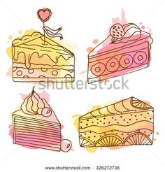 Vector cake illustration. Set of 4 hand drawn cakes with colorful watercolor…