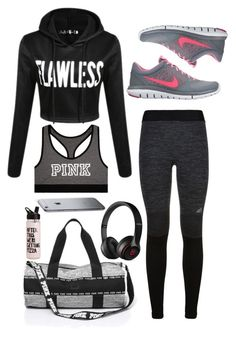 """""""73 - gym session"""" by noimagination ❤ liked on Polyvore featuring adidas, NIKE, Victoria's Secret, Beats by Dr. Dre, women's clothing, women, female, woman, misses and juniors"""