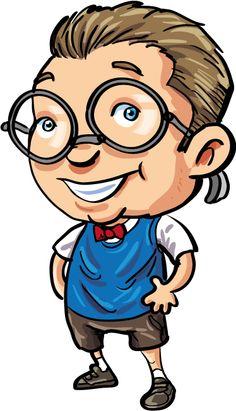 A cartoon nerd boy with a bow tie