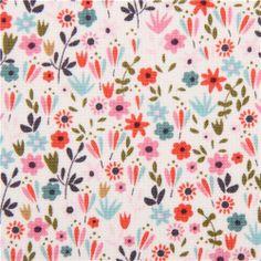 eierschaleweiß Beautiful Garden Girl bunte Blumen Stoff USA 1