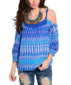 Look at this Blue Tribal Off-Shoulder Top on #zulily today!
