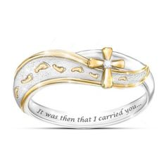 Let God's love carry you with this Footprints in the Sand diamond cross ring.