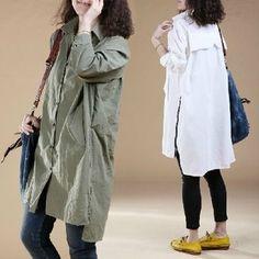 2colors  zipper blouse  long sleeve tops cotton blouse casual loose dress linen T shirt large cotton tops plus size tops , AOLO-568