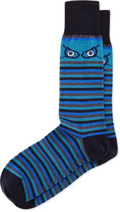 Per Pedes Eye Stripe Pima Socks, Blue