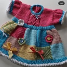 Knitting Pattern for Patchwork Baby Dress - Great stashbuster! This baby dress i. Knitting Pattern for Patchwork Baby Dress - Super Stashbuster! This baby dress is designed so that remnants of yarn are consumed. The skirt is knit of. Girls Knitted Dress, Knit Baby Dress, Patchwork Baby, Patchwork Dress, Baby Pullover, Baby Cardigan, Baby Dress Patterns, Baby Knitting Patterns, Blouse Patterns