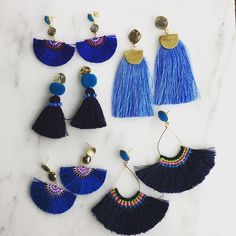 Got the Monday blues? These should cheer you up!! #audreyallmandesigns #statementearrings #spring2017 #blues #tassels #fringe