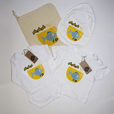 #Pack nacimiento #pez azul #body #camiseta #babero #infantil #diseño #personalizado @chussbarranco