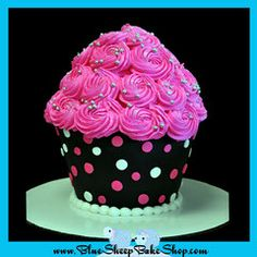This is one of my favorites on myshopify.com: Giant Pink and Black Polka Dotted Cupcake Cake