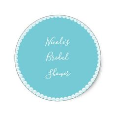teal any color glam pearls bridal shower classic round sticker