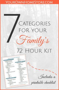 Printable 72 hour kit checklist | 72 hour kit for families