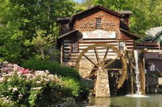 The theme park's gristmill close to our Gatlinburg cabins near Dollywood.