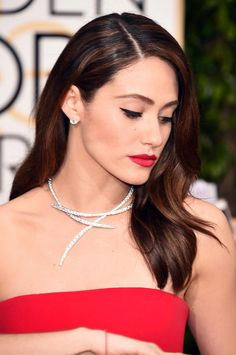 Golden Globes 2016 Celebrity Hairstyles & Makeup: Emmy Rossum #makeup #beauty #hair