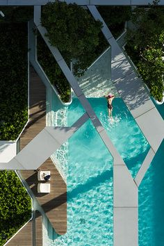 """cjwho: """"The Pool at Pyne by T. Aerial photographs reveal the angular geometries of this rooftop swimming pool in Bangkok by Thai landscape architects T. The swimming pool is positioned. Cool Swimming Pools, Swimming Pool Designs, Cool Pools, Awesome Pools, Architecture Design, Landscape Architecture, Canopy Architecture, Canopy Outdoor, Outdoor Pool"""