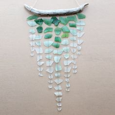 Sea Glass & Driftwood Mobile - Ombre. $77.00, via Etsy.