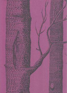 Woods Wallpaper Outline trees in black on purple