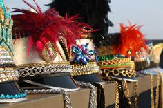 CUSTOM Burning Man Marching Band Hat, Festival Hat, Feather Cap, Burner Headdress, Jeweled Piece Sequin beaded w/ gold chain, made to order