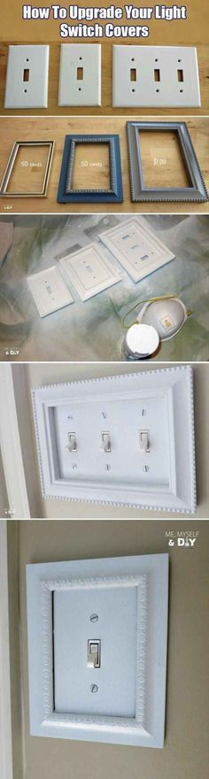 Inexpensive craft store frames fit perfectly around light switch covers! --I like the LOOK Expensive (but not really BE expensive! -- 31 Easy DIY Upgrades That Will Make Your Home Look More Expensive-- Ideias Diy, Do It Yourself Crafts, Light Switch Covers, Switch Plate Covers, Light Switch Plates, Diy Hacks, My New Room, Dollar Stores, Dollar Store Hacks