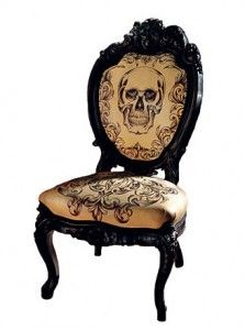 Hand tatted leather chair.