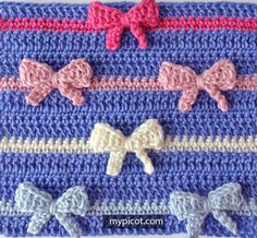 [Free Pattern] Learn A New Crochet Stitch: Crochet Bow Stitch – Knit And Crochet Daily – Tunisian Crochet İdeas. Stitch Crochet, Tunisian Crochet Stitches, Crochet Motifs, Crochet Stitches Patterns, Stitch Patterns, Knitting Patterns, Crochet Shawl, Afghan Patterns, Crochet Bow Pattern