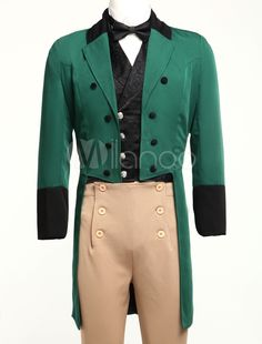 Men's Vintage Costume Victorian Green High Low Coat Retro Overcoat Shape Your Wardrobe With a Collection Of Dresses, Jewelry, Shoes, Bags and More. Circus Costume, Retro Costume, Vintage Costumes, Vintage Outfits, Vintage Fashion, Victorian Mens Clothing, Victorian Dresses, Mermaid Suit, Zentai Suit