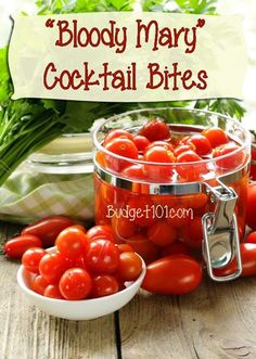 These bloody mary shot bites are a fun twist to a favored cocktail! Leave them in the jar and place a bowl of the dipping     mix next to it with a few  Read more: GroceryBudget101.com- - Bloody Mary Bites   Shot Recipes   Cocktails http://www.grocerybudget101.com/content.php/803-Bloody-Mary-Bites#ixzz37p8VjGNN