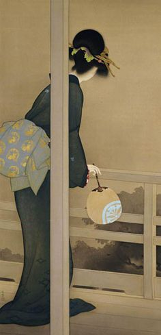 Shoen Uemura (1875-1949) the most successful woman painter of her time, her status and wealth equal to men. She elevated the traditional bijin-ga genre ( beauties) in painting (nihonga). She was a single mother who supported her Mother and son. 'Waiting for the Moon' (1926). Kyoto Municipal Museum of Art