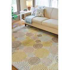 Living room rug? (rob even likes it) Meticulously Woven Circles Geometric Abstract Rug (7'6 x 10'6)
