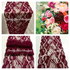 """Burgundy/Wine Lace Table Runner/3ft-10ft long x 7"""" Wide/Wedding Decor/ Lace Overlay/Tabletop Decor/Centerpiece/weddings/ENDS Not SEWN (4.95 USD) by LovelyLaceDesigns"""